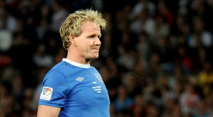 Gordon Ramsay wearing a football kit