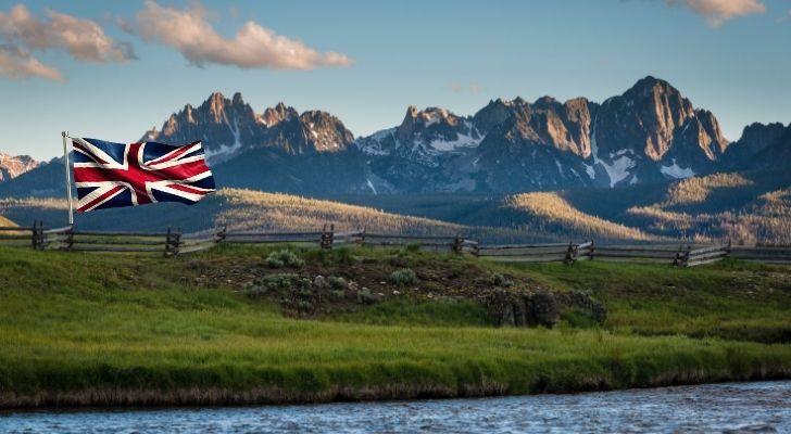 A British flag flying amongst an Idaho landscape