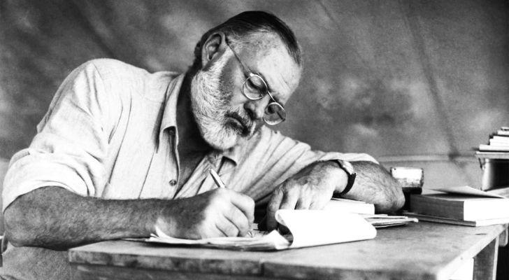 Ernest Hemmingway writing