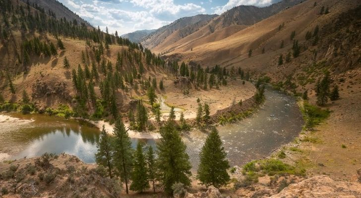 Beautiful river with sandy surrounding mountains and alpine trees