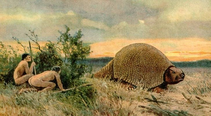 An artists impression of the paleo Indians hunting