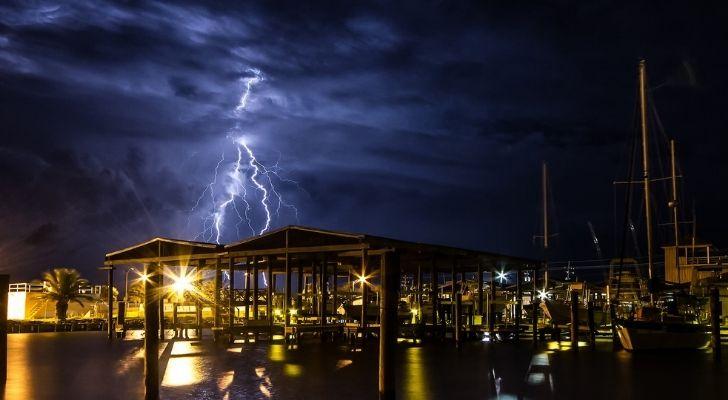 Lightening strikes in Louisiana