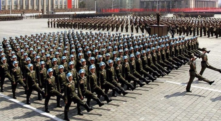 Many perfect rows of soldiers marching