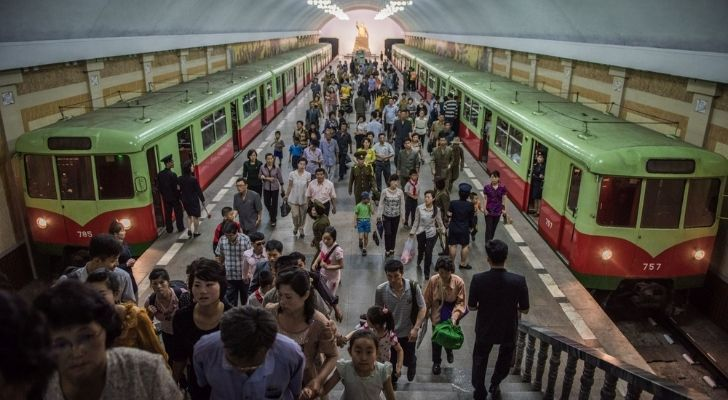 A busy day at a metro station in North Korea