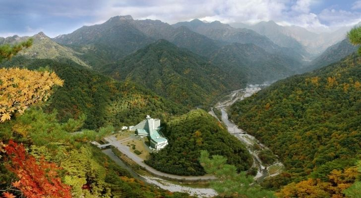 Luscious green mountains in North Korea