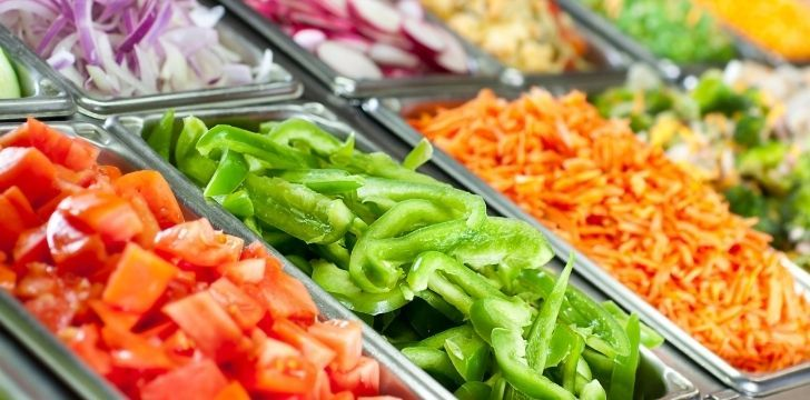A fresh colorful salad bar
