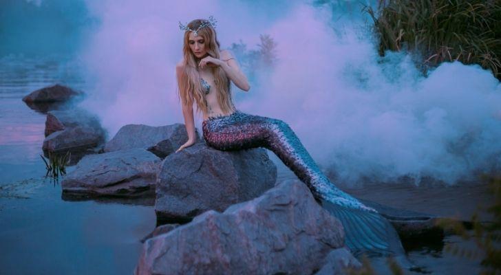 A mermaid sitting on a rocks near the ocean
