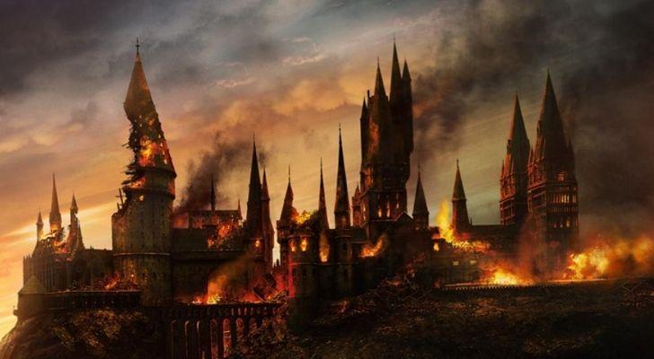 Hogwarts ablaze after The Second Wizarding War