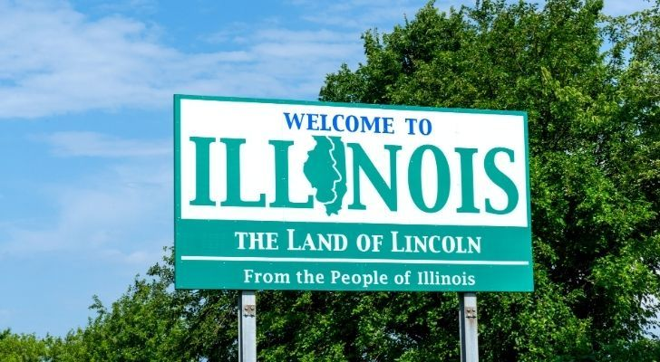 A Illinois welcome sign