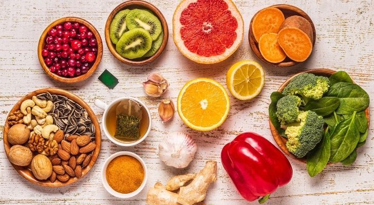 Lots of different fresh fruits and vegetables that will help you maintain a healthy immune system