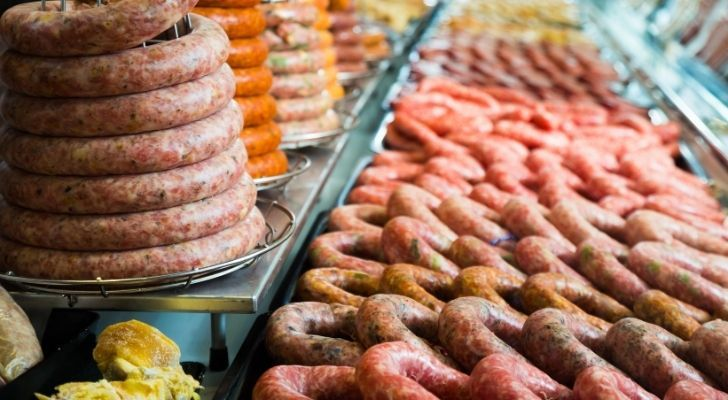 Many types of meats at a butchers