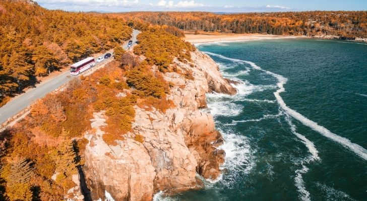 Beautiful stretching coastline in Maine
