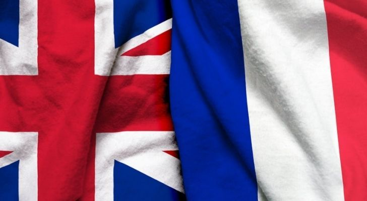 England and France flags side by side