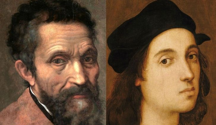 A picture of Michelangelo and one of Raphael