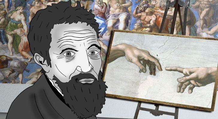 A cartoon of Michelangelo