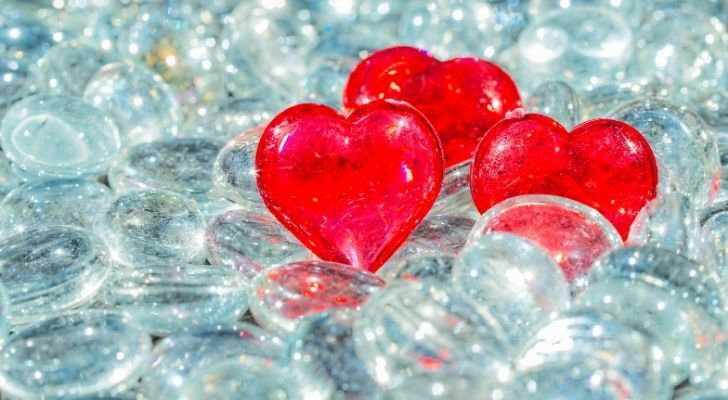 Crystal red hearts