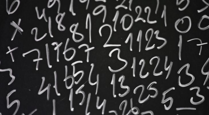 Lots of numbers on a chalk board