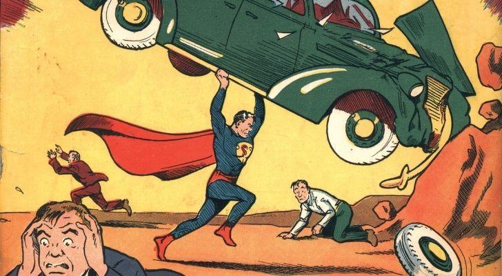 Superman in his debut comic lifting a green car