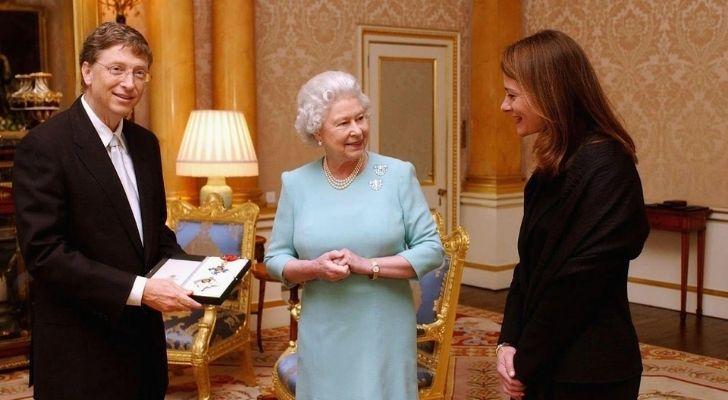 Bill Gates with Queen Elizabeth II