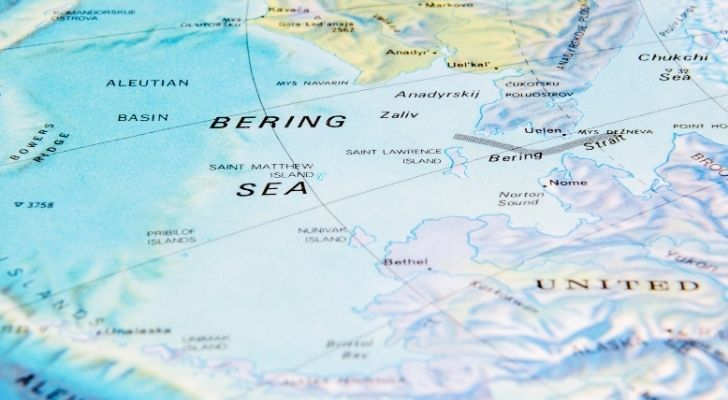 A map showing the Bering Strait