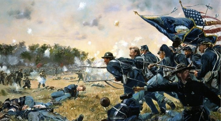 Soldiers fighting in the American Civil War