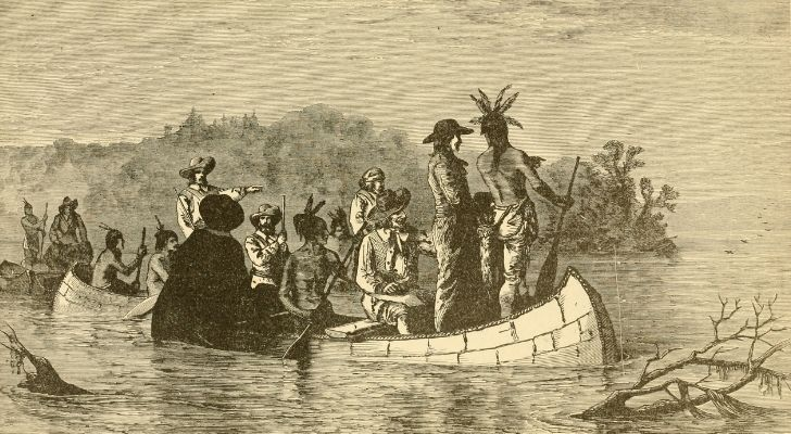Jacques Marquette on a boat