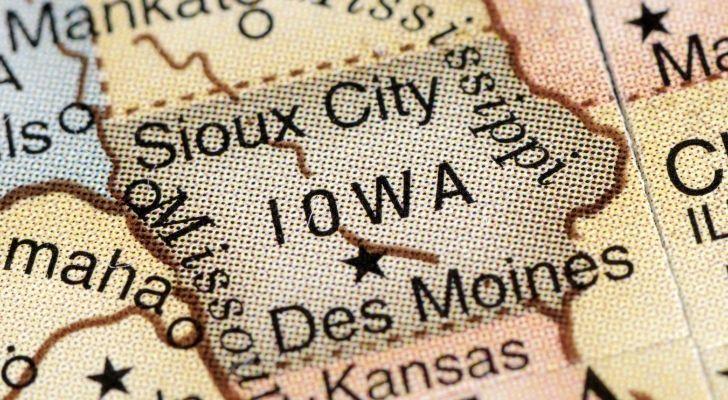 Iowa on a map