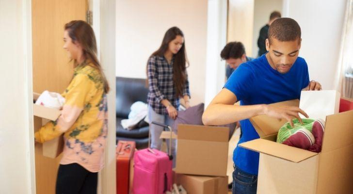 Students packing their belongings