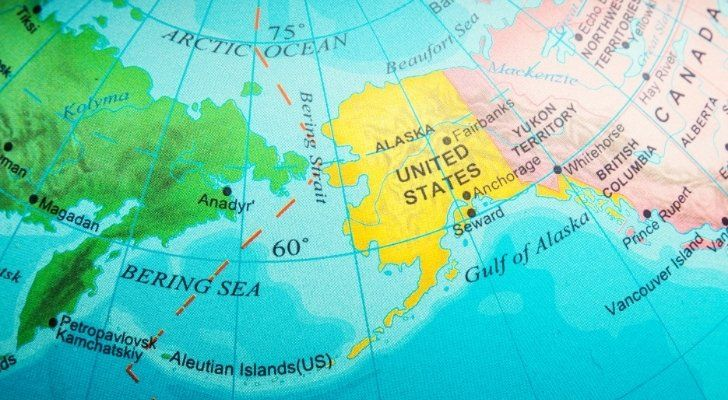 The Bering Strait on the map