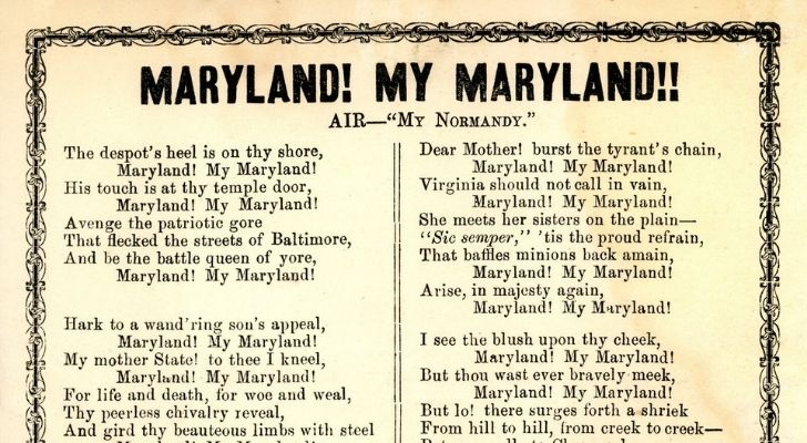 Part of the Maryland my Maryland song