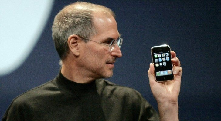 Steve Jobs holding the very first iPhone