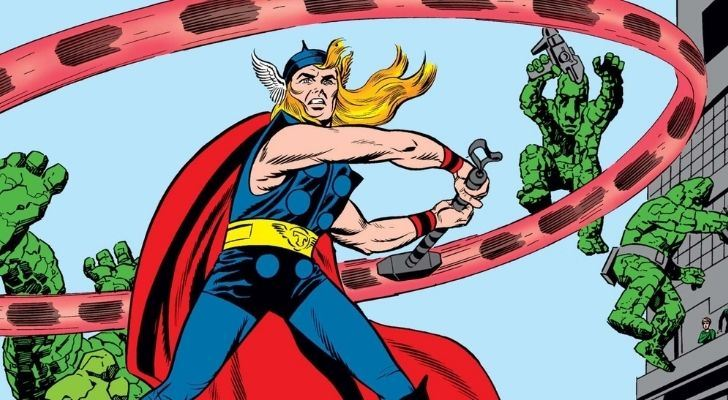 A remastered image of Thor in his debut comic from 1962