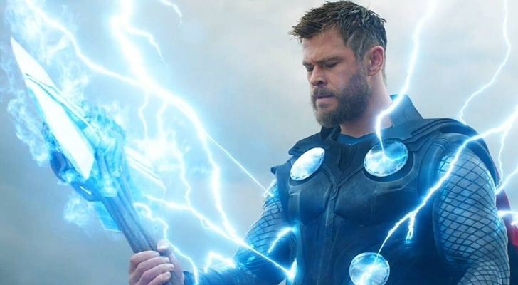 Thor with short hair and being struck with lightening