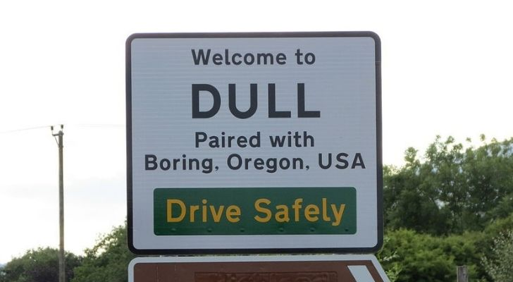 The welcome sign for Dull in Scotland