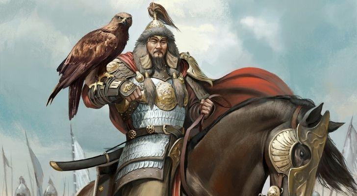 Ghenis Khan on a horse