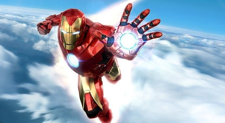 Iron Man flying in the sky