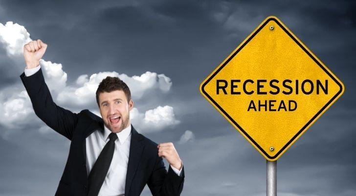 A happy man due to a recession