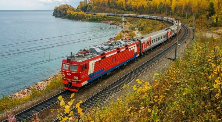 A train travelling along the trans Siberian rail network