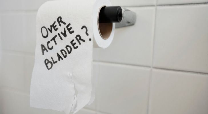 """Toilet paper with """"over active bladder?"""" written on it"""