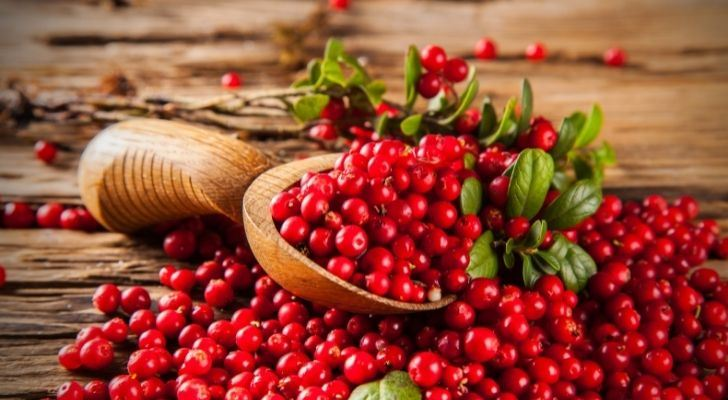 Hundreds of bright red cranberries