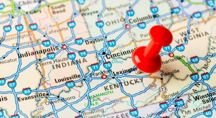 Kentucky pin pointed on a map