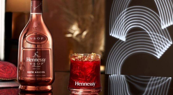 A bottle of Hennessy Cognac