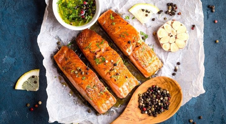 Three pieces of delicious cooked salmon