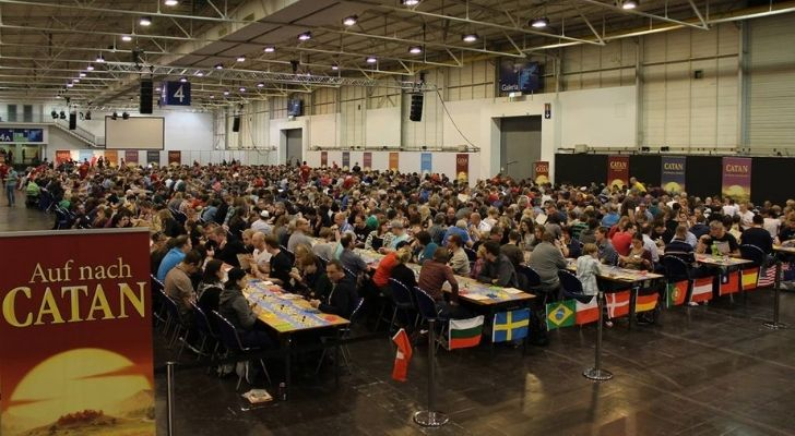 People playing the biggest game ever of Settlers of Catan