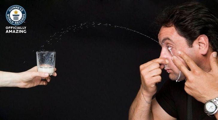 Ilker Yilmaz squirting milk from his eye