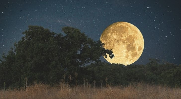 The big bright Harvest Moon in the sky